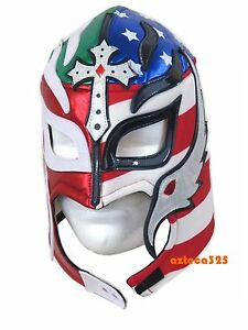 Rey Mysterio Adult Lucha Libre Wrestling Mask Divided Heart Mex-USA Soccer Mask