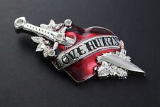 LOVE HURTS HEART SWORD BELT BUCKLE RED MIRROR PUNK