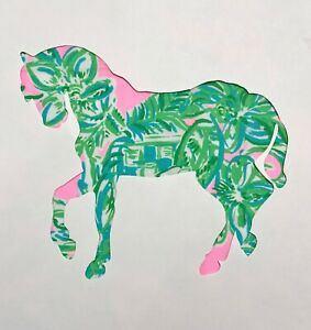 New Horse pillow made with LILLY PULITZER Pink Sands Paradise fabric