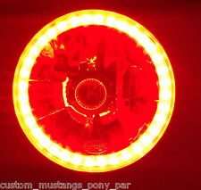 "RED Halo H4 7"" Round Headlight x 2 Angel Eye Semi Sealed Beam Universal Crystal"