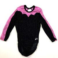 GK Elite AS Gymnastics Leotard Black Velour Pink Iridescent Adult Small