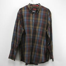 Mens Long Sleeve Cotton Multi Color Brown Blue Izod Medium Button Front Cotton