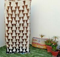 Beni Ourain Moroccan Handmade Rug Berber Azilal ZIG ZAG  VINTAGE carpet 3' x 6'