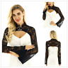 Sexy Women Stand Collar Long Sleeve Lace Crop Top Jacket Shrug Gothic Bolero Top