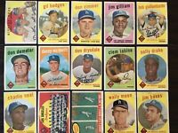 ⚾️1959 Topps Baseball Los Angeles Dodgers Lot Of 15 Hodges Zimmer Drysdale ⚾️