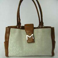 MICHAEL Michael Kors Handbag Purse Large White Canvas Brown Leather Tote Bag