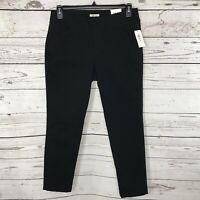 Style & Co Womens Medium M Ankle Pants Mid-Rise Flat Front Stretch Black Pockets