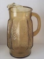 Pitcher Serving Amber Glass Water Beverage Ice Lip Heavy Vintage