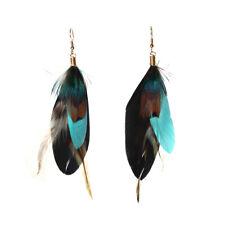Feder Ohrringe Earring Boho Vintage Ohrhänger Indianer Look Schwarz Türkis