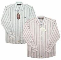 Savane New Mens Long Sleeve Striped Shirt Smart Casual Cotton Blend Blue Pink