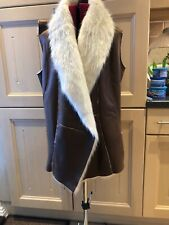river island gilet 12 Brown With Faux Fur