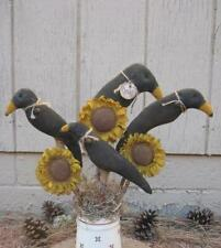 Primitive Set of 7 Grungy Crow and Sunflower Pokes 4 Crows & 3 Flowers
