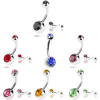 ALS_ Stainless Steel Navel Ring Rhinestone Belly Ring Bar Piercing Jewelry Splen