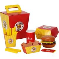Wooden Burger Fries Deluxe Dinner Set Kitchen Pretend Food Toy for Toddlers