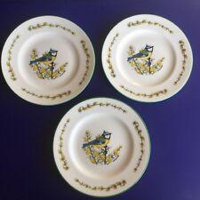 SET OF 3 COALPORT NORMAN ARLOTT  'BLUE TIT' SALAD DESSERT PLATES - ENGLAND