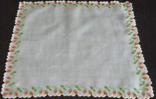 Vintage Madeira Embroidered HANDKERCHIEF – STRAWBERRIES VV274