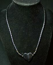 Vintage Hematite Carved Heart Beaded Necklace