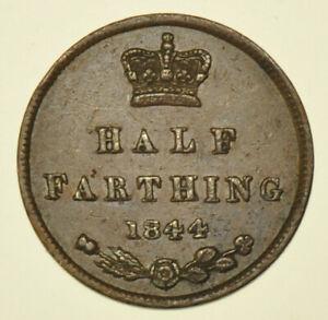 1844 VICTORIA HALF FARTHING, BRITISH COIN VF