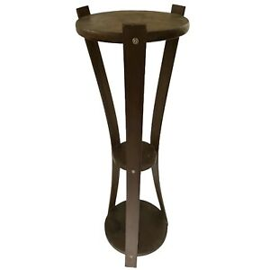 """Bent Wood Hourglass Plant Stand Table 30"""" Tripod Vtg Mid Century"""