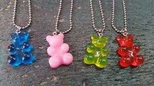 Halskette silbern Gummibärchen Fruchtgummi verschiedene Farben