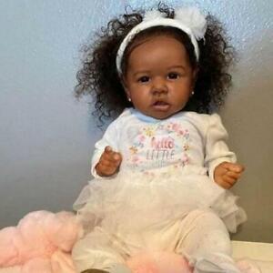 55cm Full Body Silicone Vinyl Baby Girl Black Doll Princess Toys Curly Hair Gift