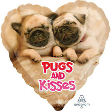 Valentine's Day foil helium balloon Pugs & Kisses Pug Dog Puppy Party Decoration