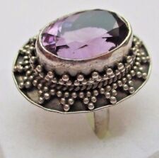 Bague en argent poinçon 925 cabochon cristal améthyste bijou vintage taille 57