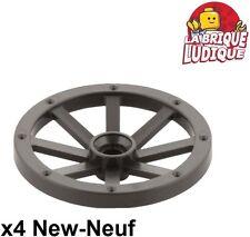 Lego - 4x roue jante tread chariot Large 33mm D. Pearl dark gray 4489b NEUF
