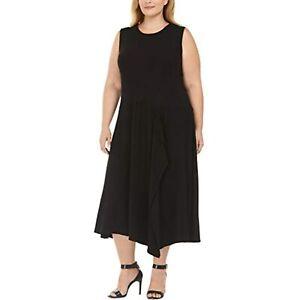 MSRP $130 Calvin Klein Womens Plus Knit Sleeveless Midi Dress Black Size 3X