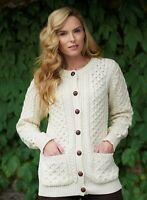 Ladies Merino Wool Traditional Aran Irish Cardigan xp311 - Aran Crafts