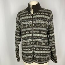 LL Bean Womens L Cardigan Nordic Sweater Wool Silk Blend Scotland Front Zip Up