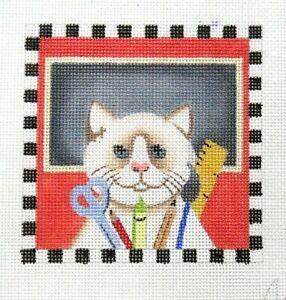 Ginny Diezel / Maggie Teacher Cat Handpainted Needlepoint Canvas