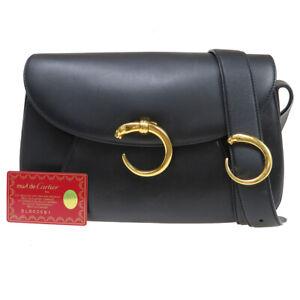 MUST DE CARTIER Panther Shoulder Bag Leather Black Gold Plated Italy 32BU126