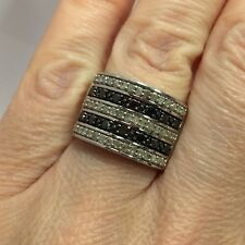 Sterling Silver 1 Ct Black Diamond Pave Cigar Cocktail Wedding Band 925 Ring 7