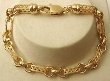 GENUINE  9ct  9K  SOLID Yellow Gold OVAL BELCHER FILIGREE  BRACELET