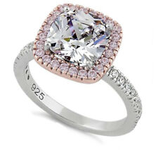 Cushion Cut Clear & Pink Cz Ring Sterling Silver Two Tone Rose Gold Plated