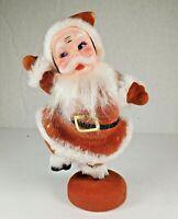 Vintage Flocked Felt Plastic Waving Santa Stand Christmas Figurine Kitschy
