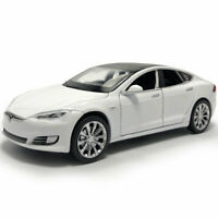 1:32 Tesla Model S 100D Model Car Metal Diecast Toy Vehicle Kids White Pull Back