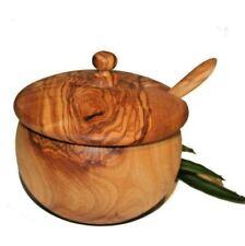 Pot à moutarde ou à sucre en bois d'olivier (6004)