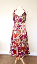 Monsoon Silk Dress 16 Red Orange Purple Floral Summer Holiday Party BNWT