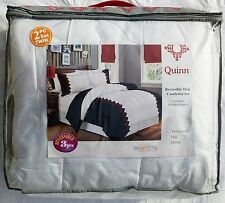 New Twin 2 Piece Bedding Set Reversible Comforter - White, Black & Red Geometric