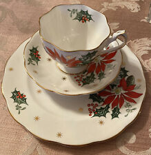 3 Pc Queen Anne NOEL Trio  Set Cup & Saucer with Salad or Cake Plate ENGLAND