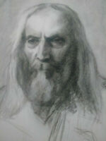 Rare grand dessin homme portrait vieillard fusain XVIIIème - XIXème siècle