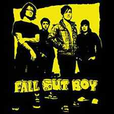 FALL OUT BOY 1.5-inch Square BADGE Button Pin Gold Photo Logo NEW OFFICIAL MERCH