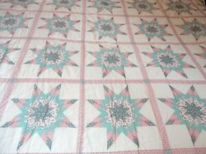 """Coverlet Quilted Full Size 84""""L x 78""""W Pink & Green Patchwork Print"""
