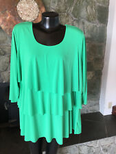 Susan Graver Liquid Knit Kelly Green Ruffely Tiered Top  from QVC  1X