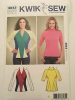 Kwik Sew Pattern 3843 Misses Shaped Tops V-Neck Raglan Sleeves XS-XL Uncut