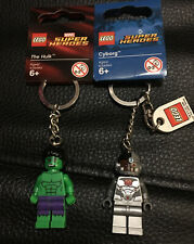 Lot Of 2 LEGO Super Heroes Keychains - 853772 Cyborg & 850814 The Hulk - New