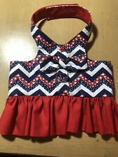 Flag Red, White, Blue Memorial Day 4th July Handmade Dog Harness Dress (1454) L