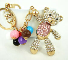 Bear Pink Belly Arm Move Bead Cute Crystal Purse Bag Key Chain Wedding Cute Gift